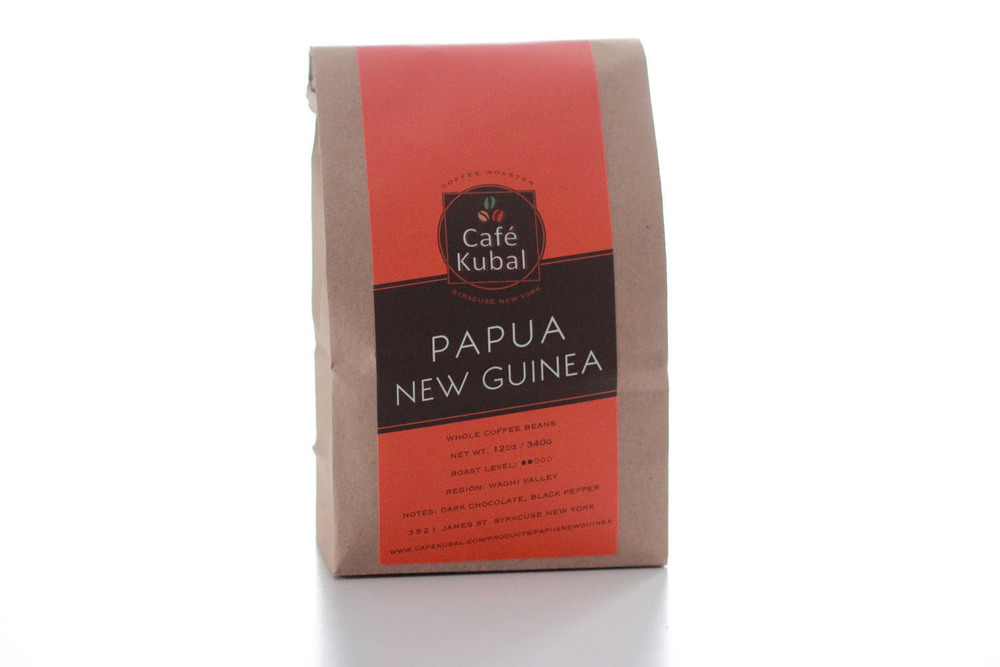 This Indonesian coffee is cultivated and harvested between the rugged mountains of Papua New Guinea in the Wahgi Valley. It is wet-processed like some of the coffee grown in Central America, which contributes to Papua New Guinea's bright and fragrant taste. At Cafe Kubal, we roast every batch of Papua New Guinea coffee to produce a smooth-tasting and well-balanced cup. The fragrance is especially vibrant, at light-medium roast where the spice can be identified. As it cools, the fruitiness of the coffee emerges. With its unique aroma, Papua New Guinea brews well as a bright and refreshing cup of iced coffee. Roast : Medium Region : Wahgi Valley Notes : Dark Chocolate, Black Pepper