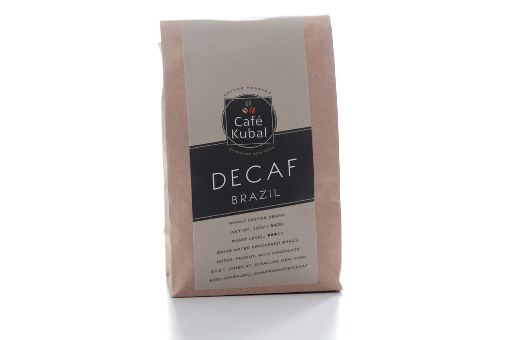 Our decaffeinated coffee is the product of the Swiss Water Process applied to superbly flavored Brazil beans. This process is chemical-free and produces beans that are 99.9% caffeine free. Our decaf coffee has a medium body and a chocolatey smooth taste. Roast : Medium Process : Swiss Water Process Notes : Peanut, Milk Chocolate