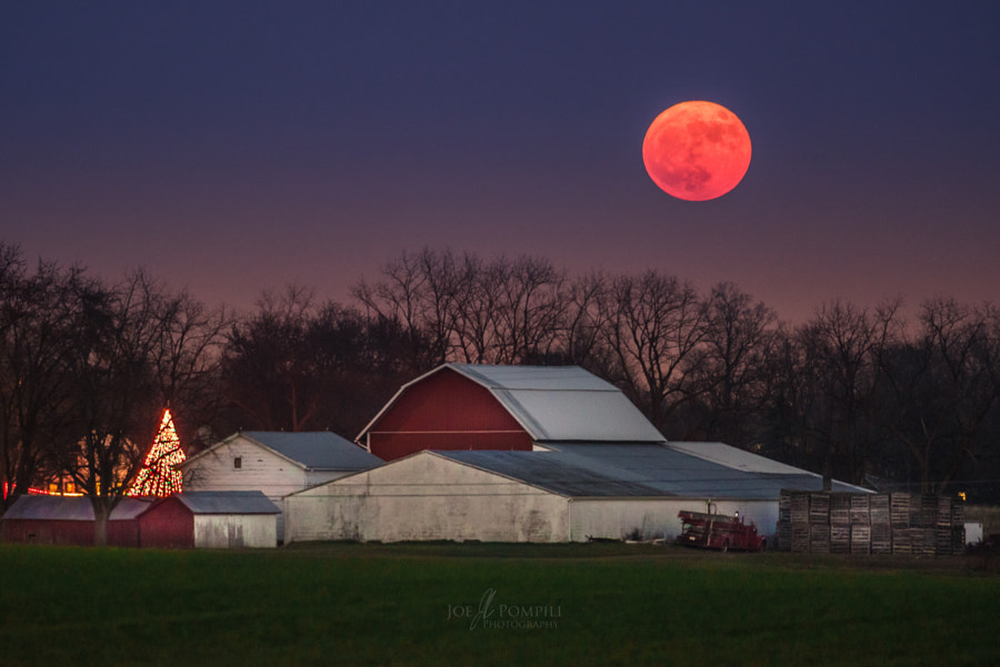 Cold Moon over Farm
