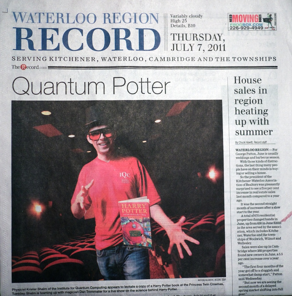 Quantum Potter: Front page story of the Waterloo Record