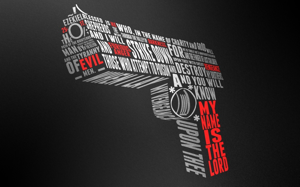 Pulp Fiction pistol typography