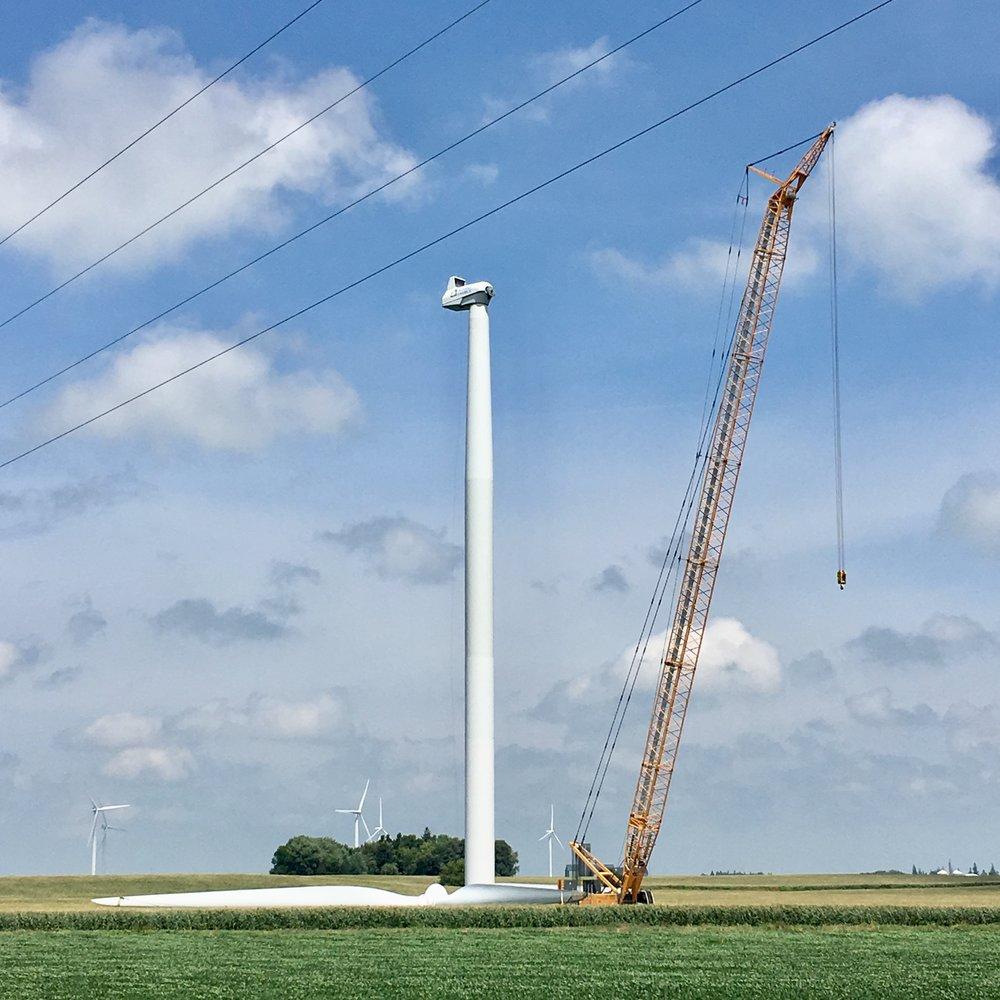 A crane that erects wind turbines.