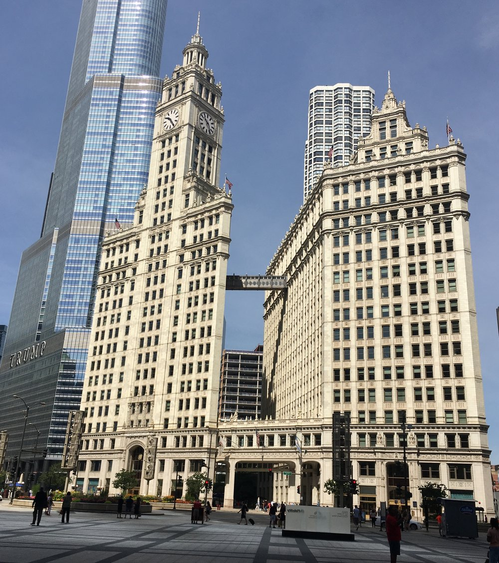 My wife chewed me out for hanging around the Wrigley Building in Chicago.