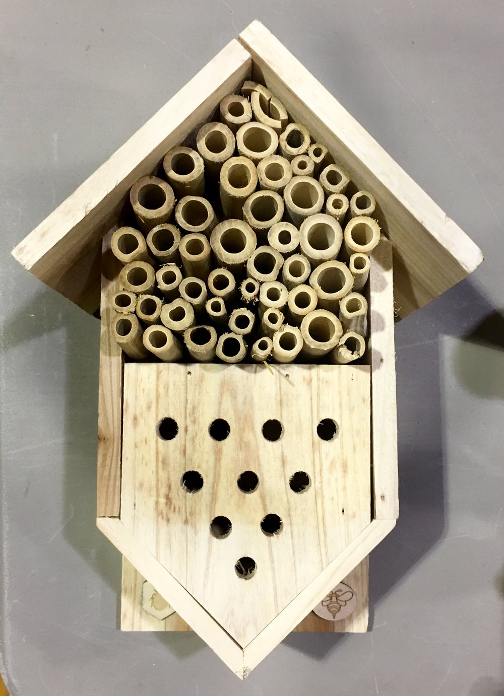 A native, solitary bee nesting box.