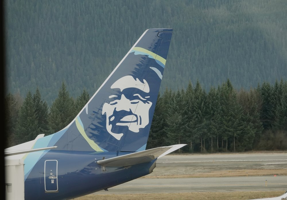 The tail of the trip. Alaska Airlines.