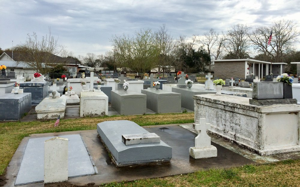 A high water table led to above ground graves at this cemetery in Louisiana.