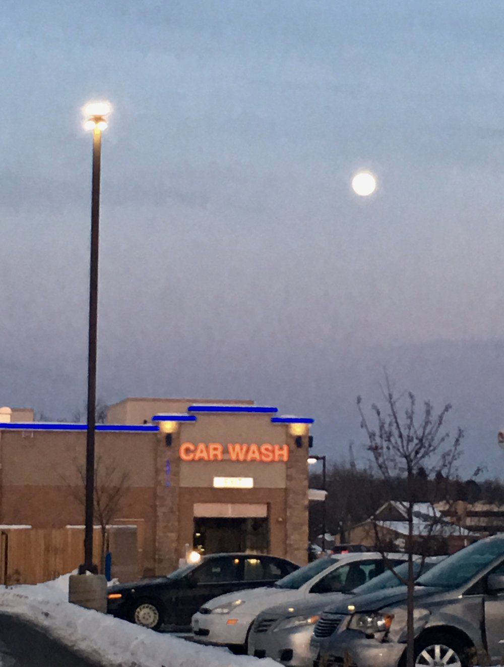 The super snow moon is also called the moon over the car wash.