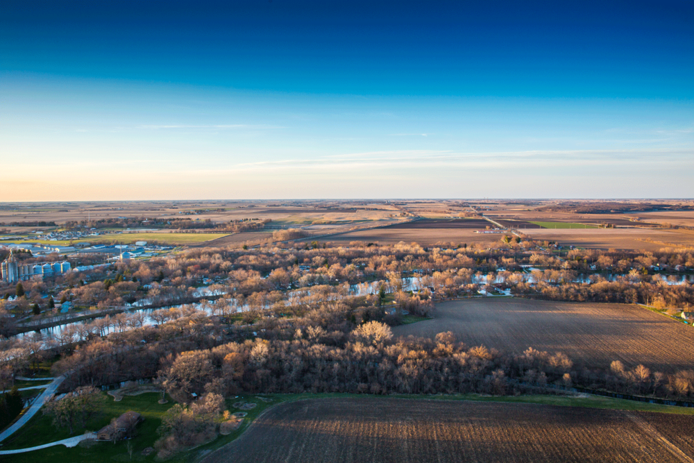 kankakee river aerial image at sunset.png