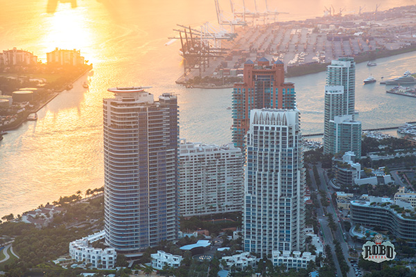 miami florida aerial photo at sunset