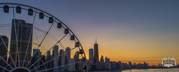navy pier sunset aerial photo