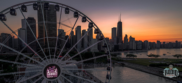 navy pier ferris wheel sunset aerial photo