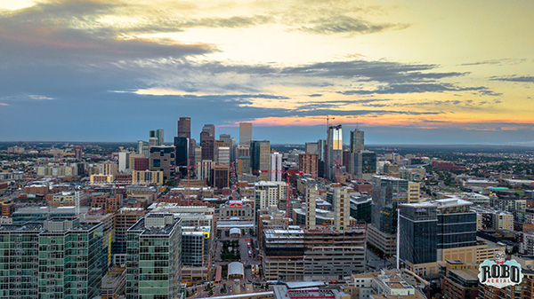 Denver aerial image at sunset