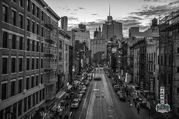 nyc chinatown black and white aerial photo
