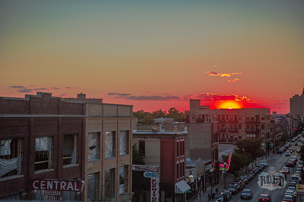 wicker park chicago sunset aerial photo