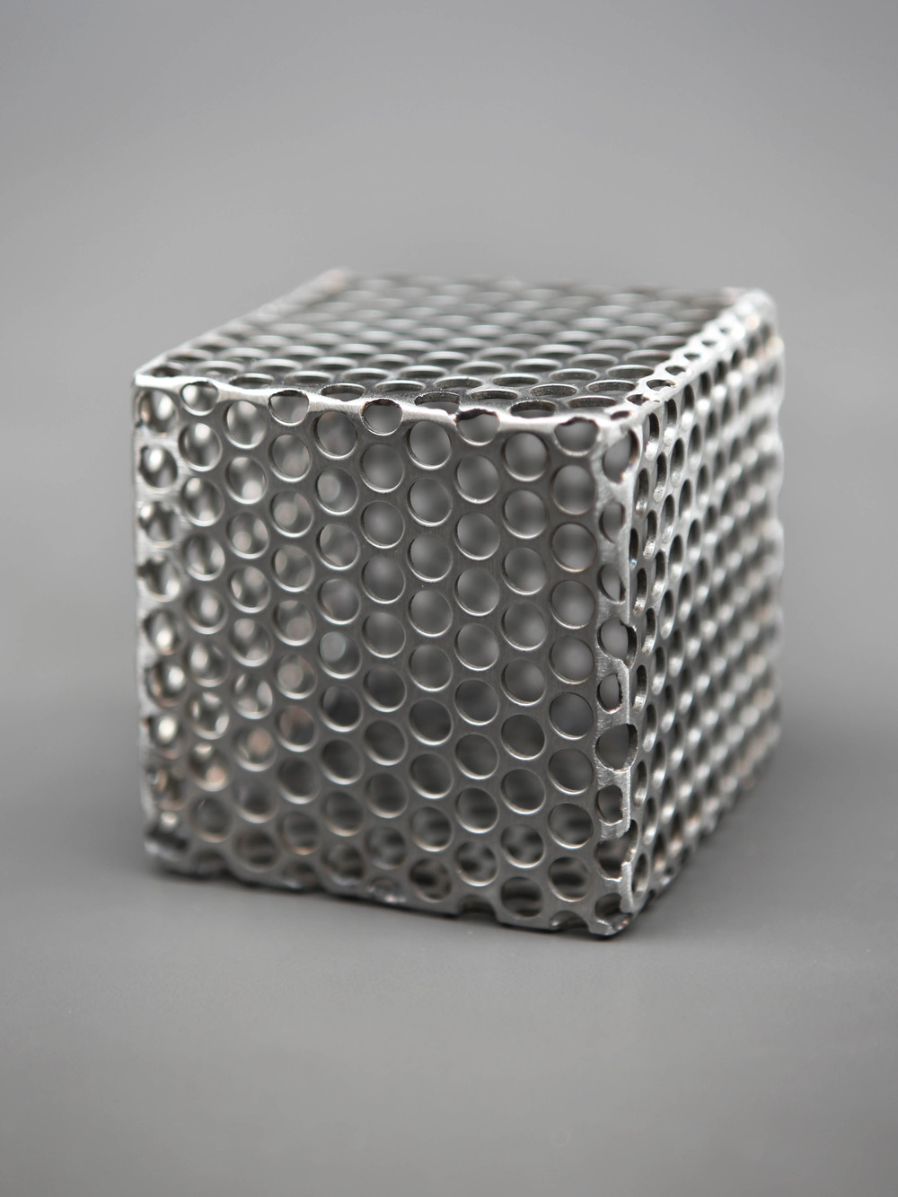 Perforated Steel Cube by Elektra Steel