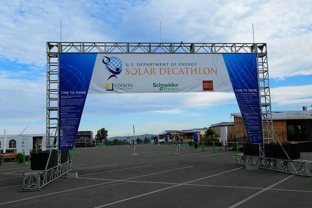 Solar Decathlon entrance banner.