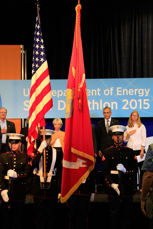 National anthem flag ceremony.