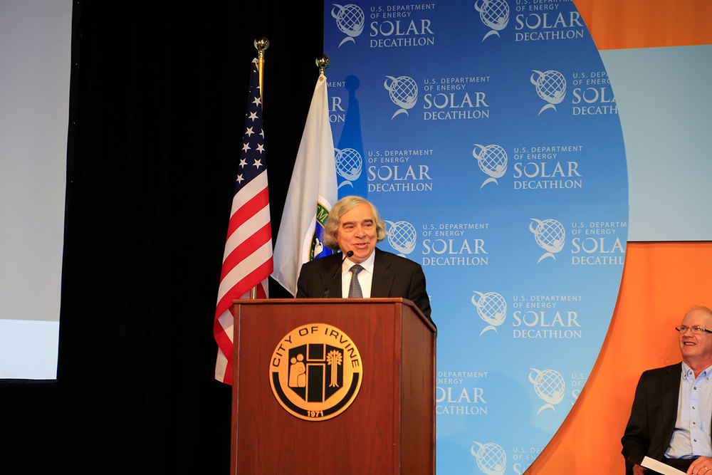 U.S. Secretary of Energy, Dr. Moniz giving his speech.