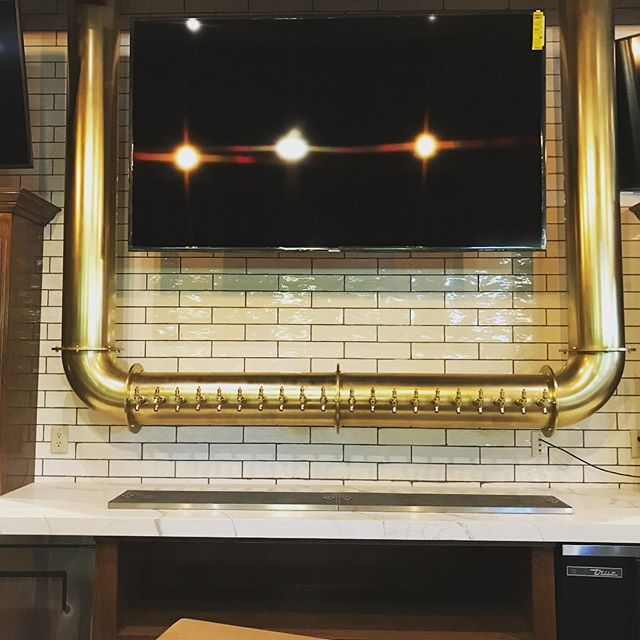 """This beauty was recently installed @roccosweho. It is 8.5"""" Stainless Steel tube that was dipped in nickel and brass. All put together it is tipping the scale at around 450 lbs."""