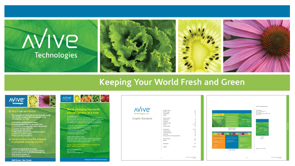 AVIVE TECHNOLOGIES - FRANCHISE - BANNER, SELL SHEET, AD, GUIDELINES