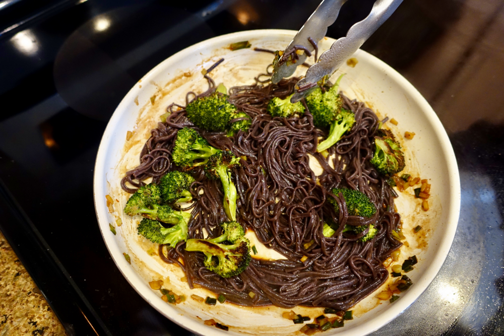 kung pao broccoli black rice noodles with Blue Apron