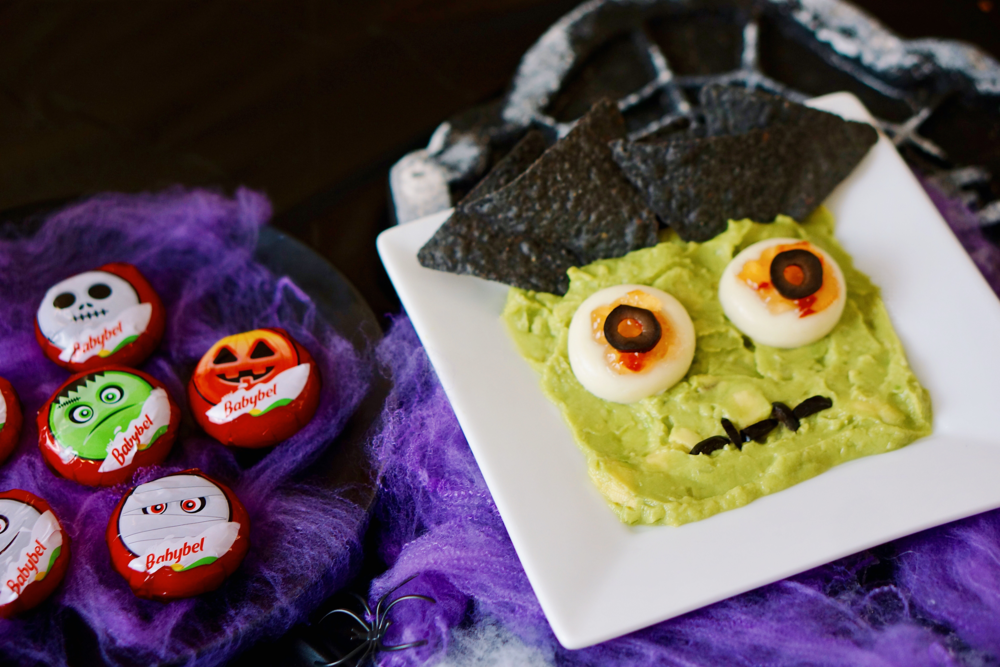Halloween Themed Chips and Guac with Babybel