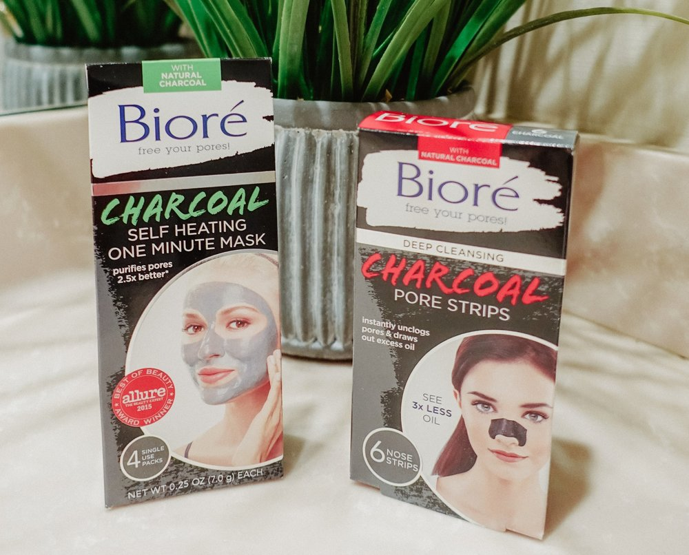 Bioré Self Heating One Minute Mask and Deep Cleansing Charcoal Pore Strips