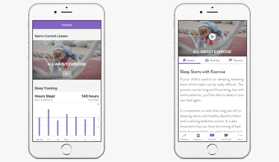 Left: initial home screen. Right: Final design with lesson as first screen.