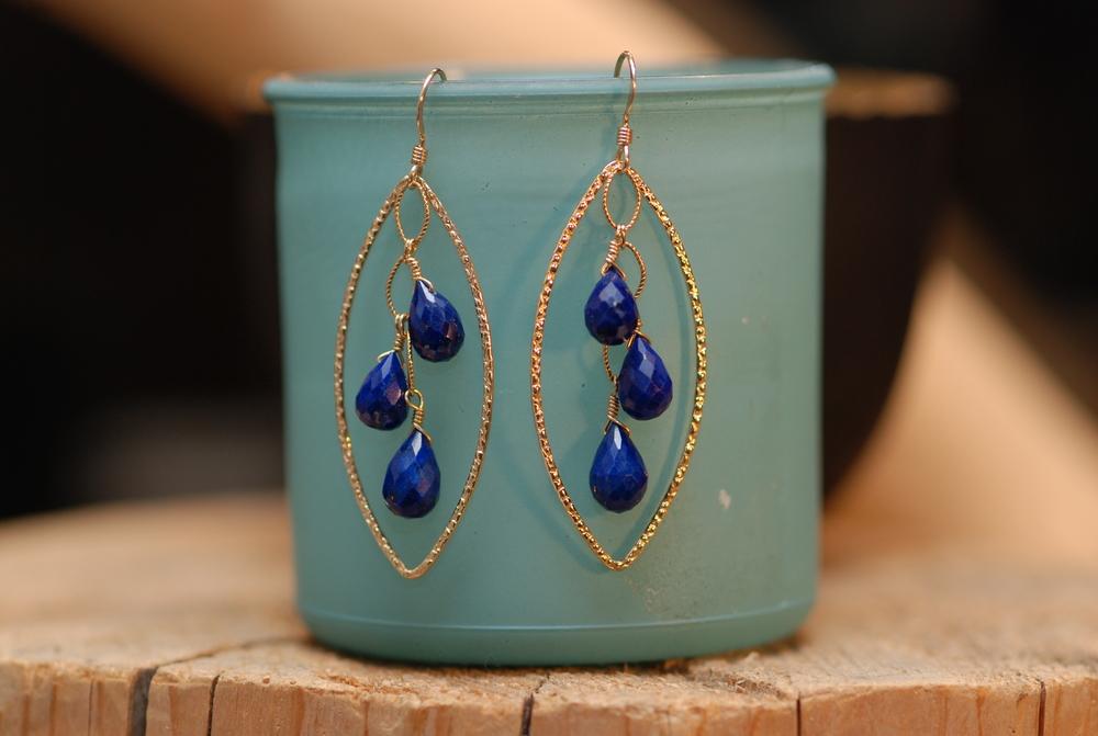 Lapis Lazuli Cluster Hammered GF Hoop Earrings_10.JPG
