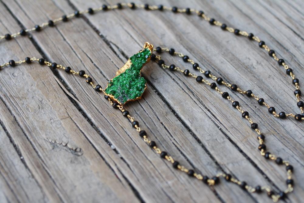 Uvavorite Druzy Black Spinel Beaded GF Chain Necklace_08.JPG