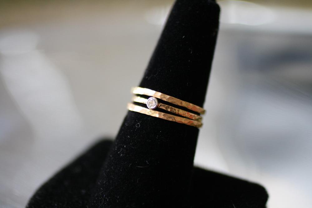 Elizabeth Bornworth - Diamond & 14kt YG Gold Hammered Stack Rings_14.JPG