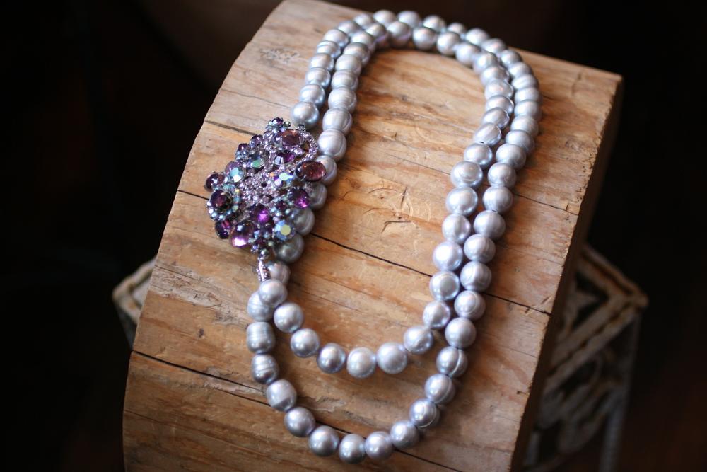 Grey Pearl Marshall Fields Purple Rhinestone Broach_07.JPG