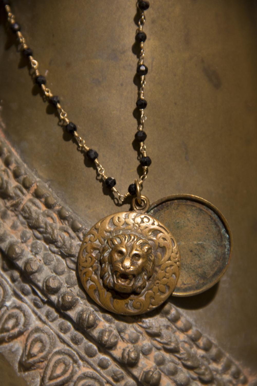 Montenegro Door Knocker w Lion on Black Spinel Beaded Chain Necklace_29.jpg