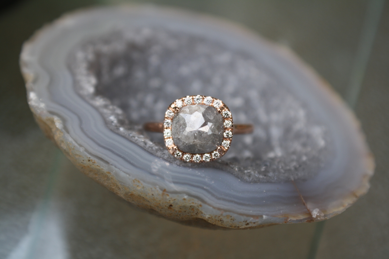 Jpg Aj Smart And Arianna Grey Diamond With Rosegold And Pave Diamond Halo  Engagement Ring15