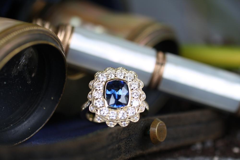 Blue Sapphire w Large Double Diamond Halo YG WG Ring_49 (1).JPG