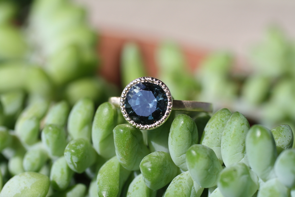 Blue Spinel Mills Grained Custom Ring Madison Gallegos_26.JPG