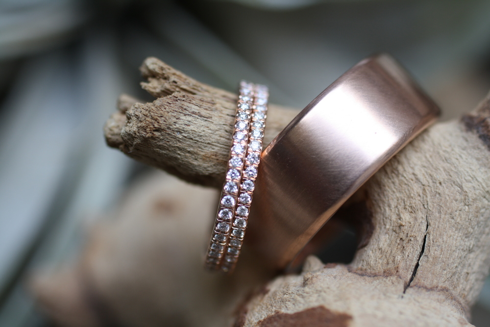 Caryn & Jarod - RG Band Diamond Insert - Two RG Diamond Eternity Bands Custom Wedding Rings_25.JPG