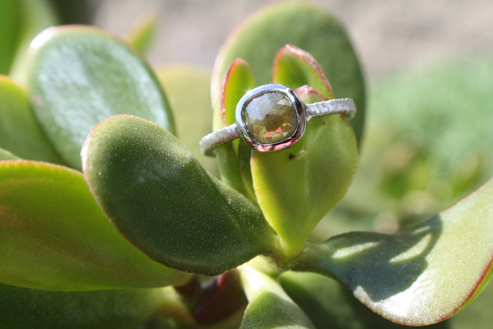 Kevin Sauer and Noey Canary Diamond and Platinum Hammered Engagement Ring_48.JPG