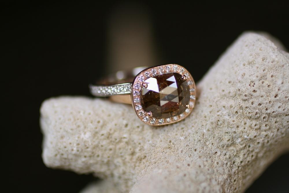 Lisa Pagel & Mike Olson - Champagne Diamond RG  Diamond WG SS with Peridot Insert - Custom Rings_08.JPG