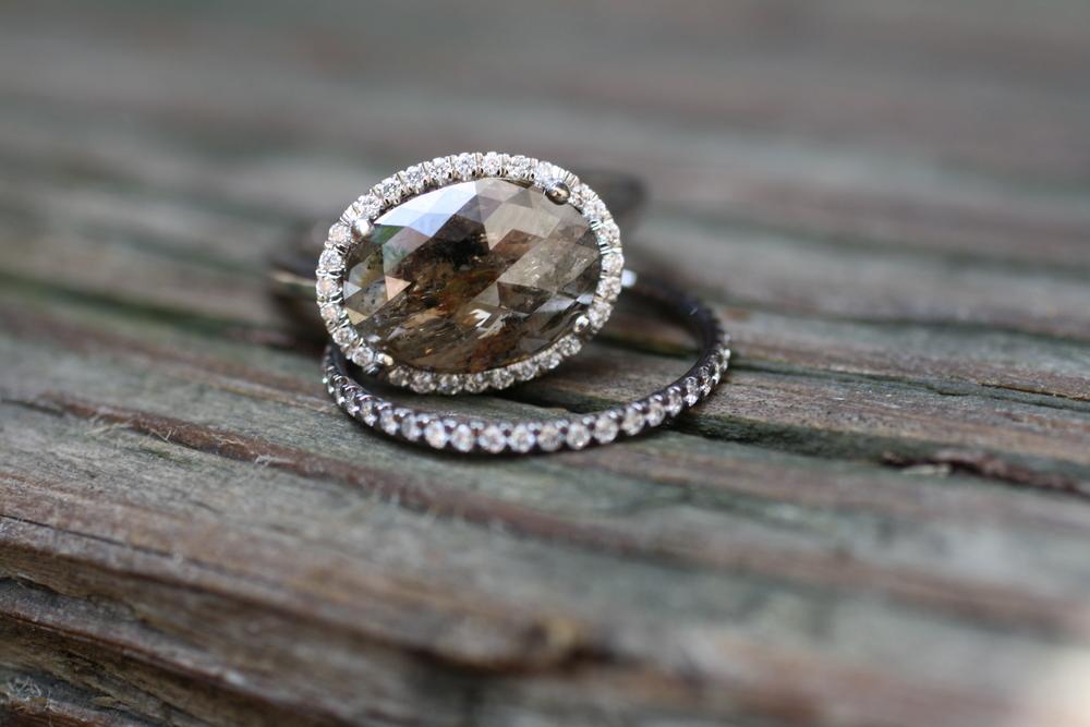 JPG Sherrie U0026 Mark   Oval Champagne Diamond Engagement Ring   Menu0027s WG  Black Diamond Wedding Band ...