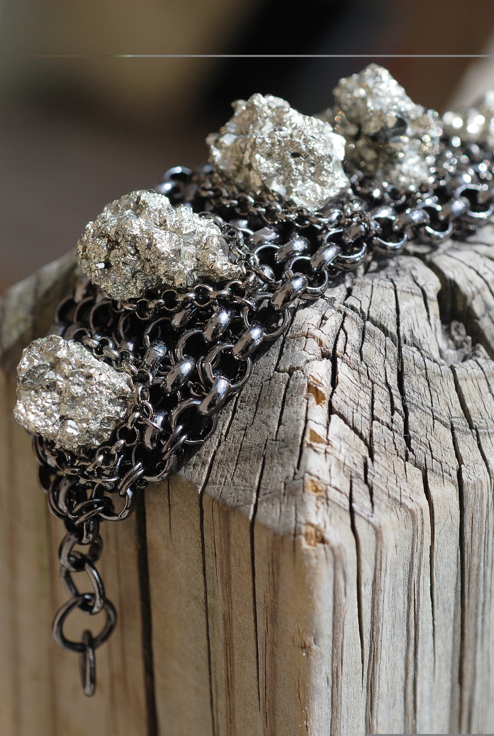 Pyrite Druzy & Gunmetal Chain Cuff Bracelet_02.jpg