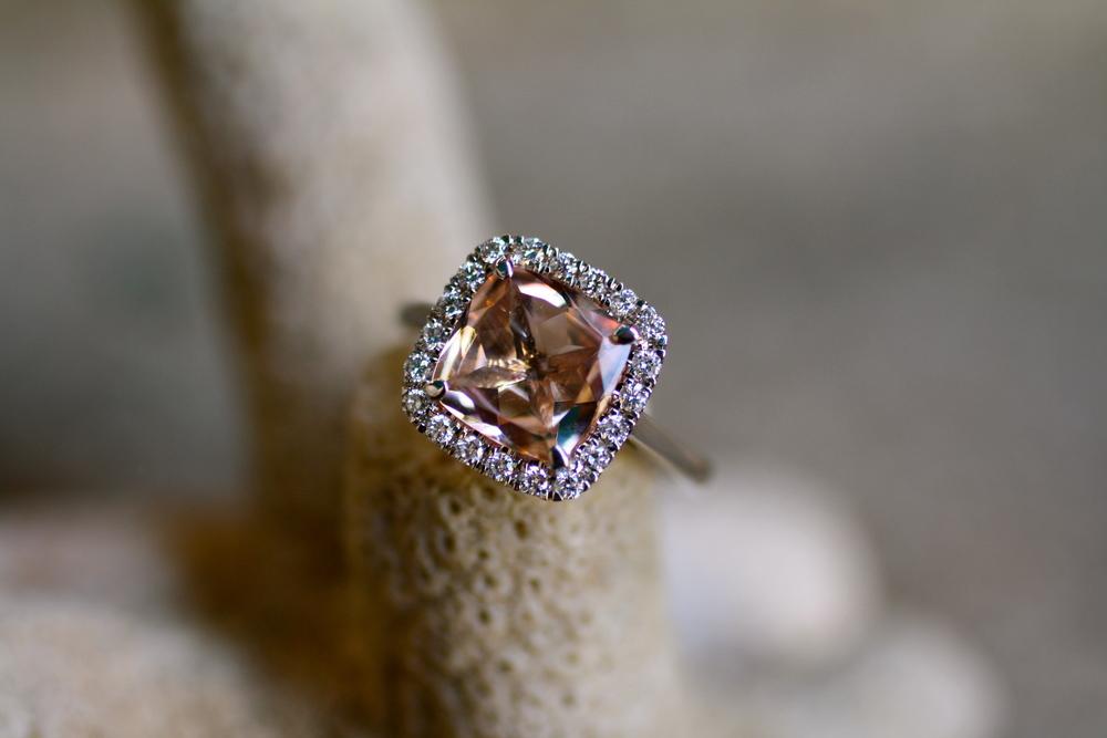 Lauren & Doug - Peach Morganite Diamond WG Diamond RG Wedding Bands Engagement Ring_02.JPG