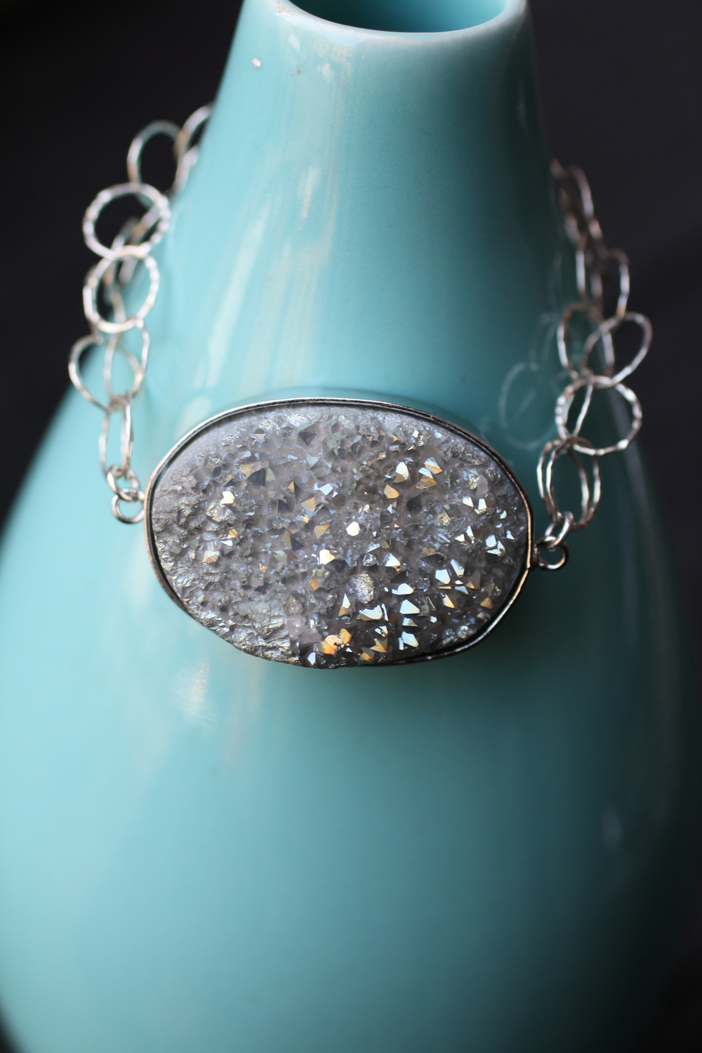 Irridescent Silver Druzy & SS Double Chain Bracelet_04.jpg