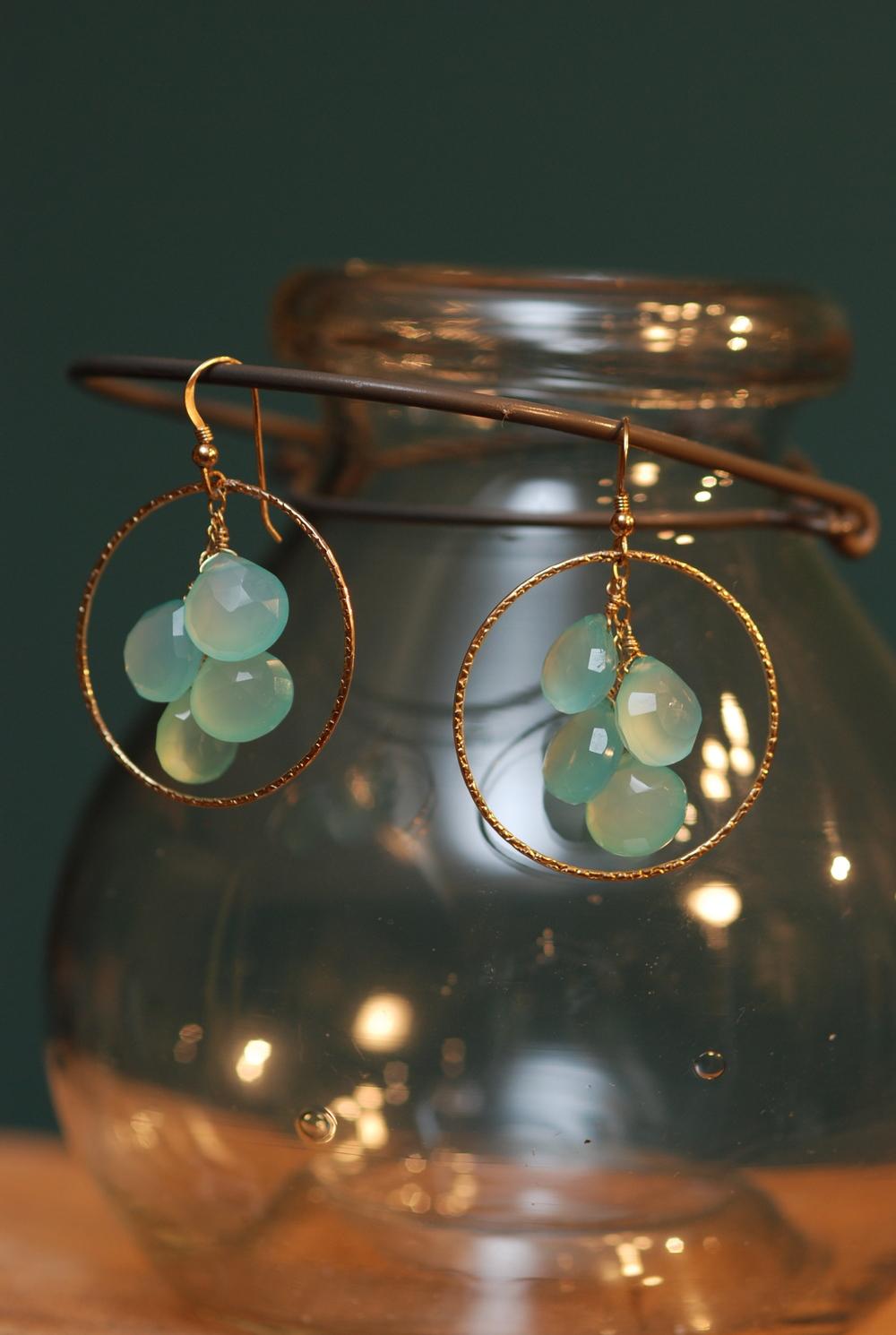 Blues for Allah Aqua Chalcedony Cluster Hammered GF Hoop Earrings_01.JPG