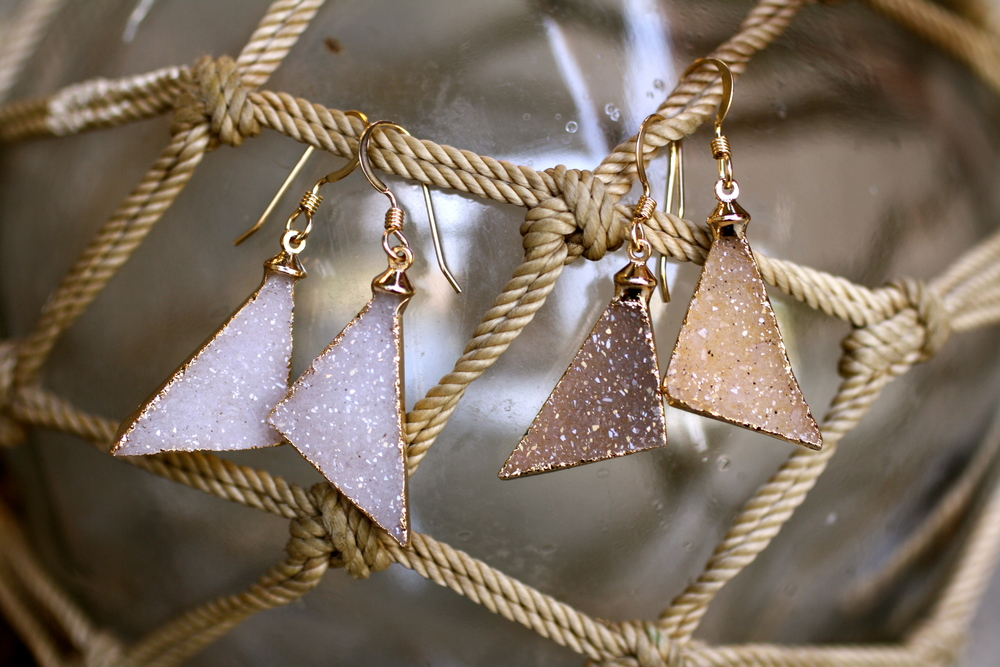 Brittany Bitch Triangle White Tan Druzy Gold Eletroplated Earrings_03.JPG
