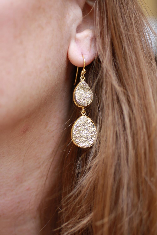 Gold Double Pear Sparkle Druzy Drops GF Earrings_01.JPG