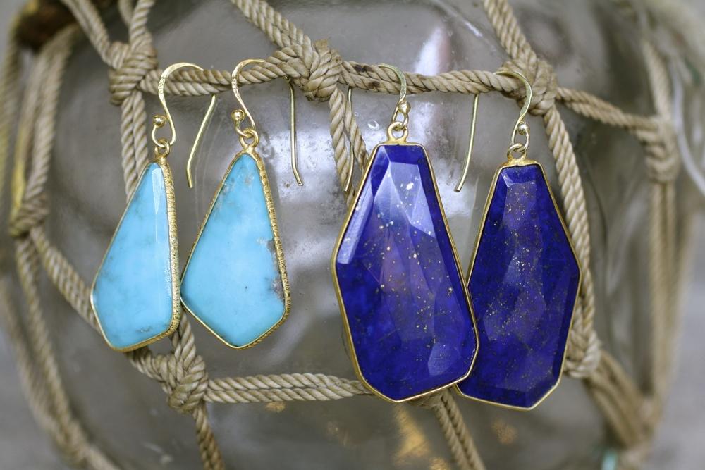 XL Organic Lapis Turquoise GP GF Earwire Earrings_02.jpg