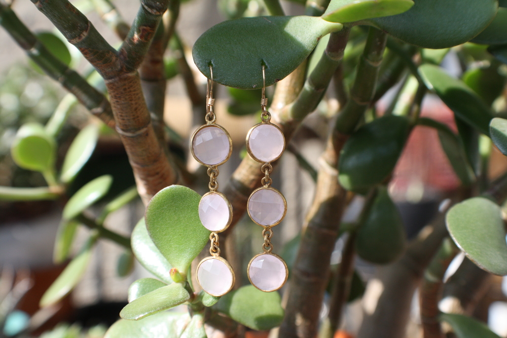 Triple Rose Quartz and Gold Plated SS Earrings with GF earwire09.JPG
