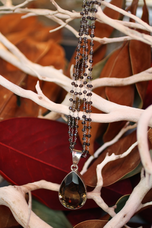 Pear Shaped 60KT Smoky Quartz Pendant on Triple Smoky Quartz Beaded Chain Necklace_06.jpg