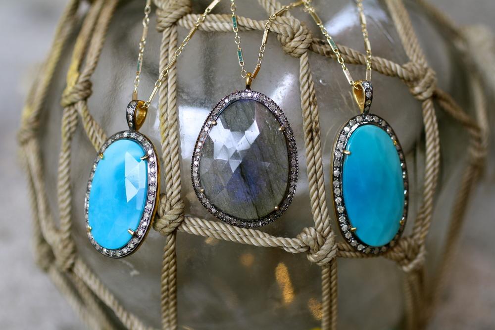 Daughters of Neno Sleeping Beauty Turquoise Labradorite Diamond Rhodium 14KT YG GF Chain_04.JPG